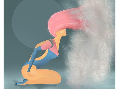 Dusty hair. Movement #2. ballerina dark pink hair procreate illustration