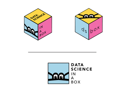 """data science in a box"" logo r box hexagon data illustrator vector logo"