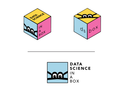 """data science in a box"" logo r box hexagon data illustrator vector logo"