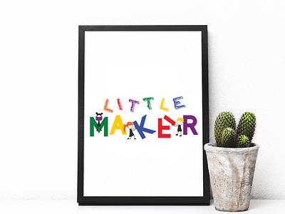 Little Maker final logo little kids illustrator colorful logo design