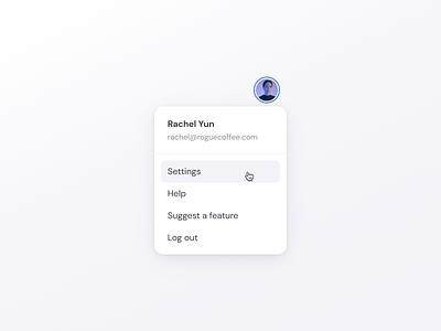 Account Menu account menu avatar settings profile menu account ux video editing clipchamp ui product design design