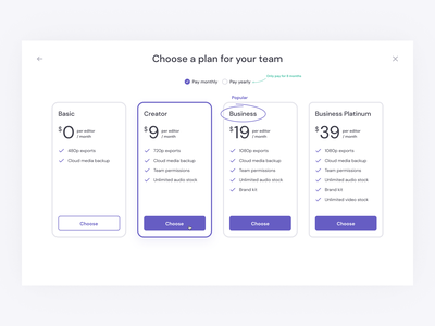 Team Pricing Page pricing plans plans clipchamp price card ui product design billing subscription pricing page pricing