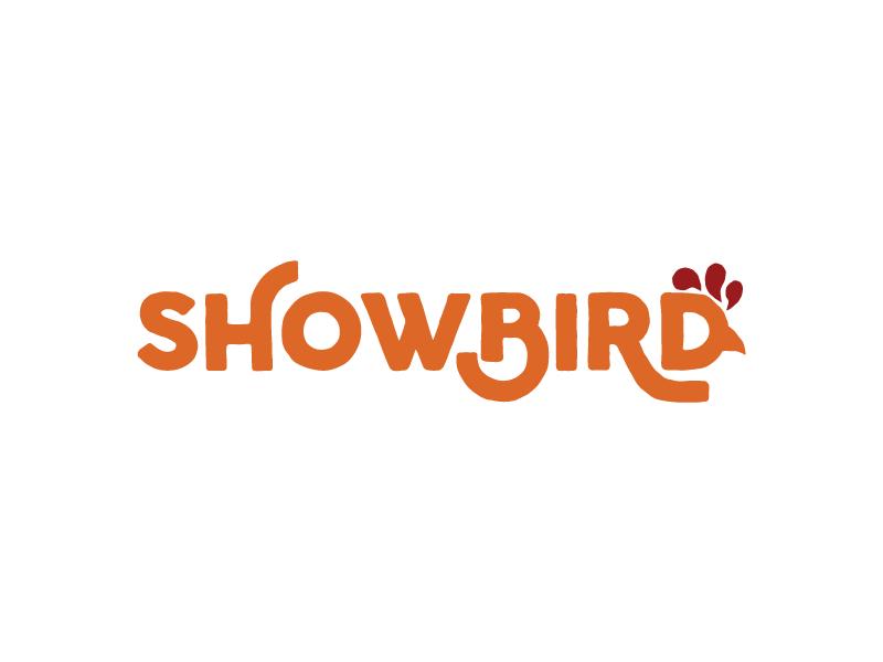 Showbird Logo typography logotype logo rooster bird fast-food restaurant chicken
