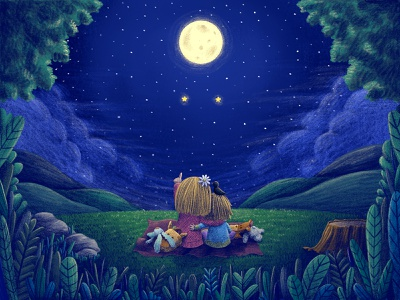 Look at the stars! sisters stargazing green nightsky stars leaves girls little girl picnic nature illustration nature moonlight moon night blue procreate kids children illustration cute