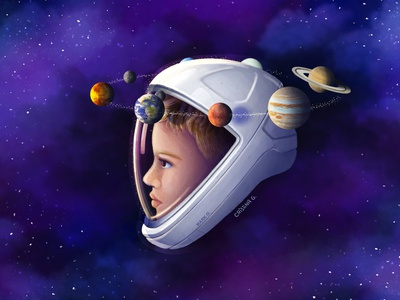 Daydreamer portrait daydream special gift orbit stars planets dream astronaut spacex universe space cosmos digital painting digital drawing kids procreate children illustration cute