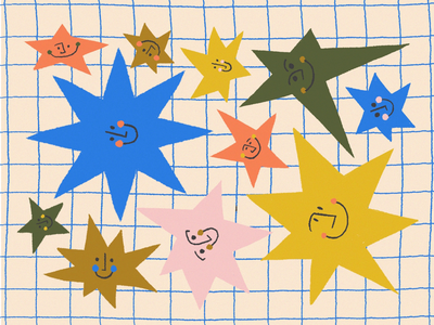 JOY / 04 texture color grid stars abstract procreate illustration