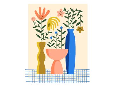 JOY / 01 color texture design procreate illustration vases flowers