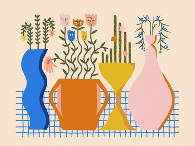 JOY / 06 vases flowers procreate illustration color texture joy