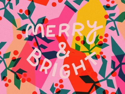 Merry and Bright procreate illustration hand done lettering christmas