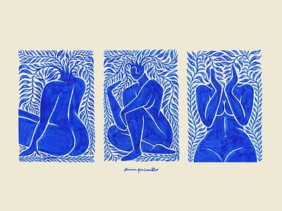 botanical ladies - 04 botanical plant female woman blue texture illustration
