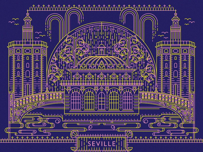 """""""From Europe With Love"""" Postcard Illustration - Seville travel mono line intricate studyabroad seville postcard design postcard monoline vector color palette color illustration"""