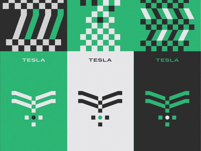 Tesla Rebrand Marks tesla pattern logo branding