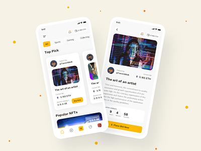 NFT Market Place App Design Concept eth auction token cryto art market market place nfts nft product design app design apps branding app ux design ux ui  ux ui design design ui
