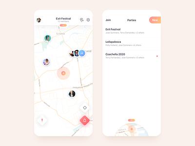 Search Party App menu list alert location users gradient search light sketch music festival ux ui map custom minimal clean iphone