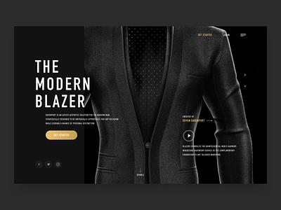 Davenport minimal slider responsive fashion style blazer render motion clean website ecommerce gold black dark ux ui