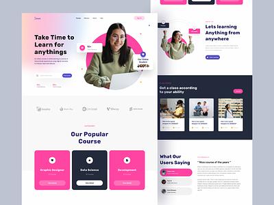 Sinau - Website Landing Page study online course landing page hero web design website ux ui design uxdesign ux design ui design uidesign userinterface