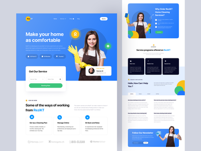 ReziKT - House Cleaning Landing Page home service user experience user interface web design website landing page house cleaning