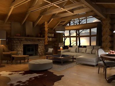 Mountain Cottage maxoncinerender archicad 3dvisualization visualization interiordesign