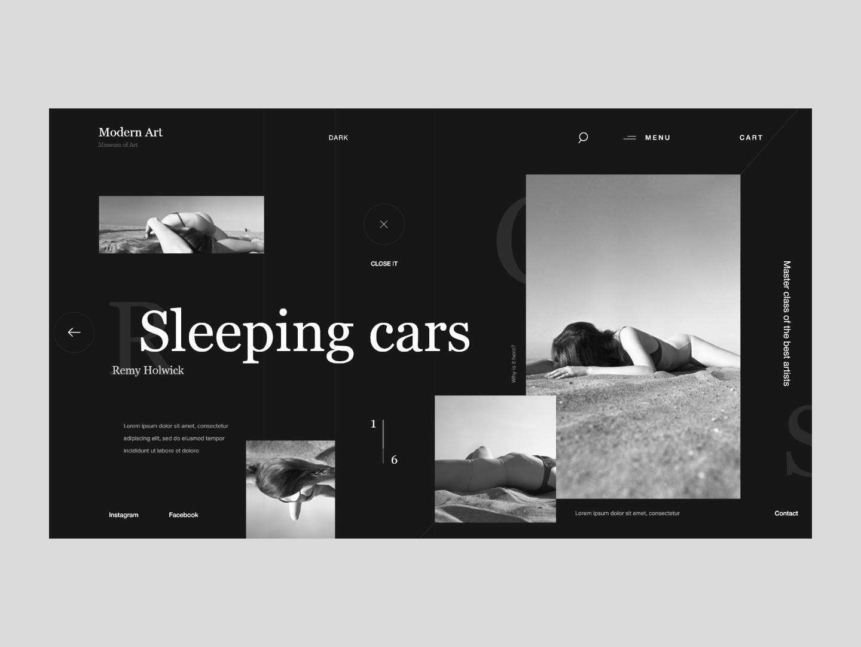 Sleeping cars | Photos | Website template minimalism lettering website web digital abstraction typography dark black art ux ui minimalist design