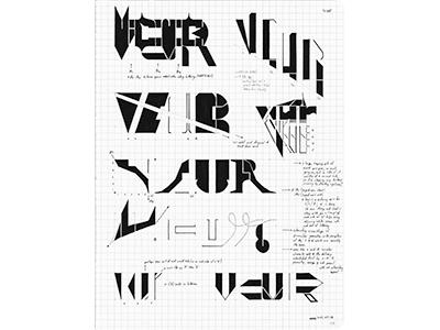 VCUR (11-P032) sketch vcur lettering typography ink marker © shockjoy hand lettering old school hand drawn