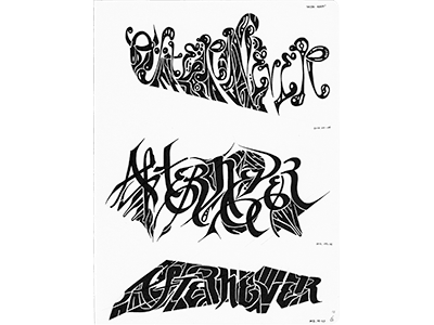 After Never (12-M48) sketch lettering typography ink marker © shockjoy hand lettering old school after never hand drawn