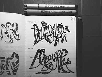 PINESHEE • (13-M12) partial  lettering typography marker sketch ink © shockjoy hand lettering hand drawn old school sketch photo vsco