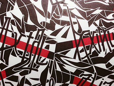 A.X.I.A.L. 10 Red Line (2013-0902) partial camouflage lettering patterning pattern ink marker © shockjoy hand lettering textile design hand drawn 2-color