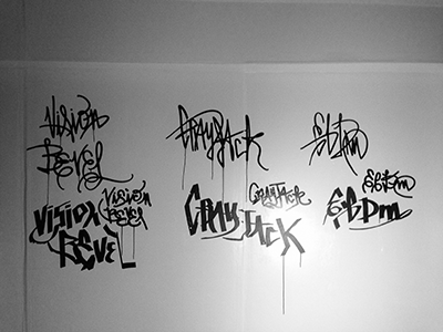 Practice Wall (as of 2013-1116)  lettering typography acrylic ink graffiti freestyle © shockjoy hand drawn old school sketch photo vsco