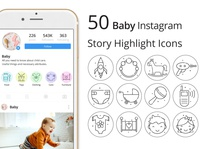 Baby Instagram Story Highlight Icons Pack baby instagram instagram stories illustration icons typography vector graphics