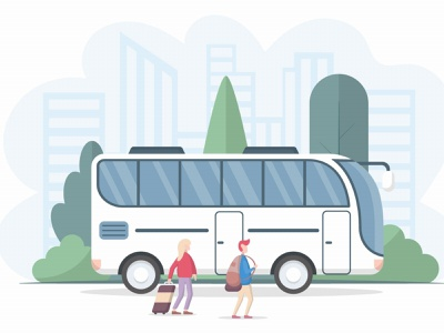 Tourists Man & Woman go to the Bus Vector Illustration illustration graphicsurf graphics graphicdesign