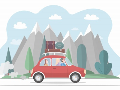 Family Travels by Car on Vacation Illustration travel illustration graphicsurf graphics graphicdesign