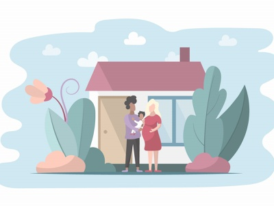 Young Family with a Baby Free Flat Illustration illustration