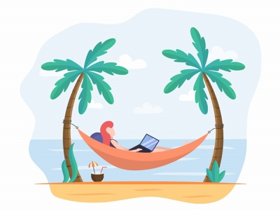 Girl on a Hammock at a Laptop Free Illustration graphic design design illustration free freebie beach
