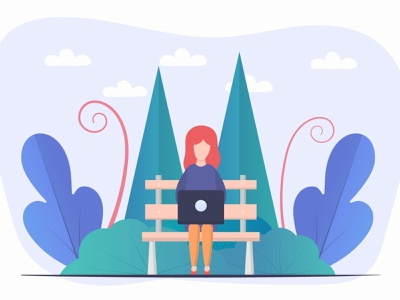 Girl at a Laptop in the Park Free Vector Design freelance graphic design design illustration graphics free freebie laptop