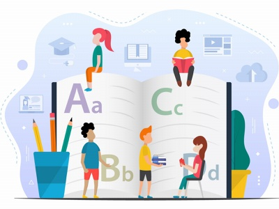 Kids Learning Alphabet Free Vector illustration education graphic design study free freebie vector graphics illustration