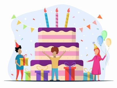 Children with Giant Cake and Candles Vector Illustration vector illustration happy childrens children childhood child cakes cake birthday