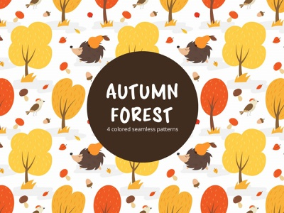 Autumn Forest Free Vector Seamless Pattern graphics free freebie ai backgrund vector trees tree seamless patterns pattern forest backgrounds background backgrond autumn