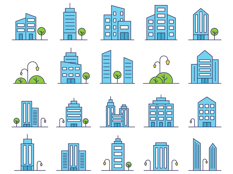 Buildings Vector Freebie Icon Set by DesZone.net - Free Vector Graphics on Dribbble