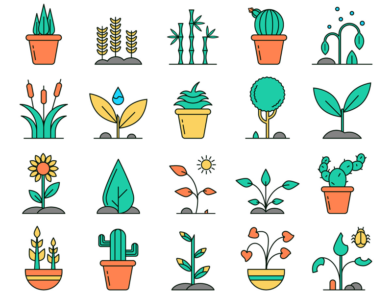 Plants Vector Free Icon Set plants typography design icons vector graphics freebie free
