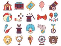 Circus Vector Freebie Icon Set