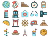 Travel Vector Freebie Icon Set