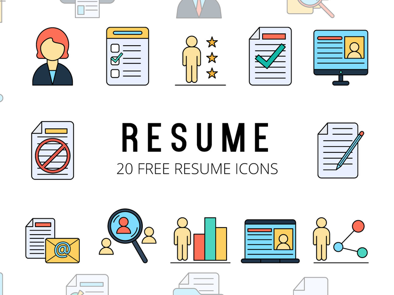 Resume Vector Freebie Icon Set By Deszone Net Free Vector Graphics