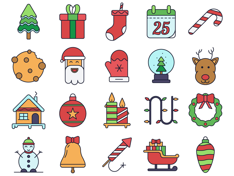 Christmas Vector Freebie Icon Set christmas illustration typography design icons vector graphics freebie free