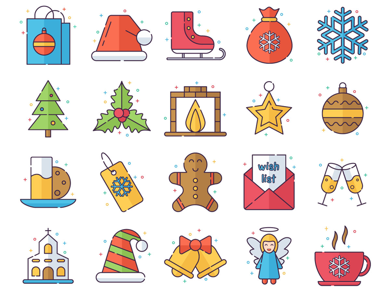 Merry Christmas Vector Freebie Icon Set christmas merry christmas design typography icons vector freebie free