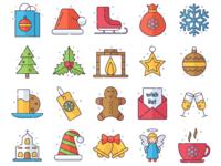 Merry Christmas Vector Freebie Icon Set