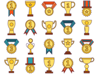 Cups and Medals Vector Free Icon Set