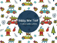 Happy New Year Illustration Vector Free Pattern