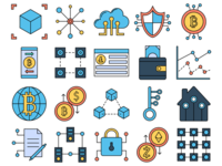 Blockchain Vector Freebie Icon Set
