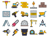 Construction Site Vector Freebie Icon Set