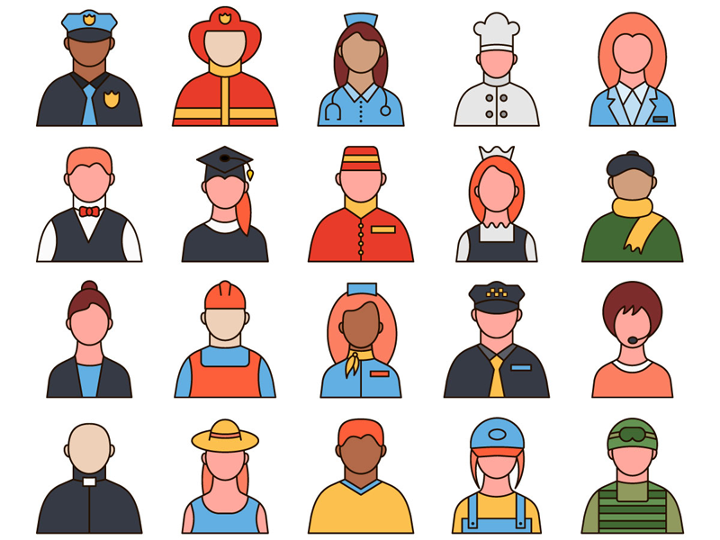 Professions Vector Free Icon Set professions typography icons vector graphics freebie free